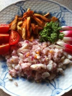 Svovlporesvamp lavet til pomfritter serveret med chviche